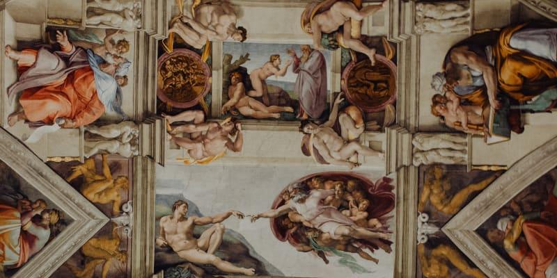 Strop Sixtinské kaple s freskou Stvoření Adama