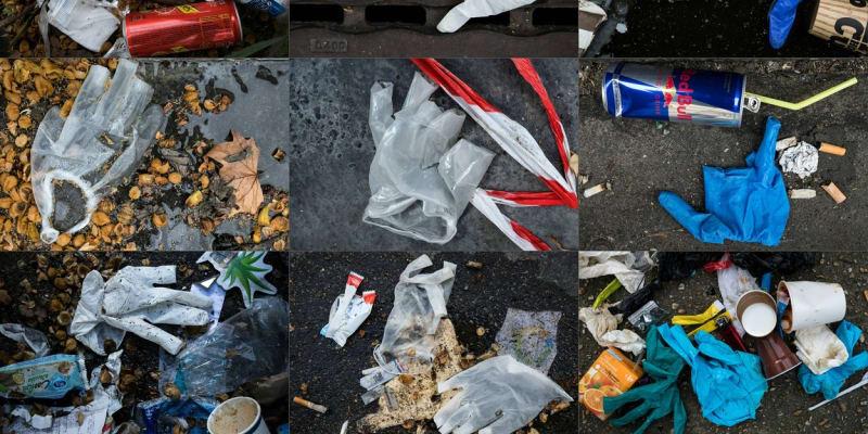 Kompilace fotek, které zachycují plastový odpad v ulicích francouzské Paříže.