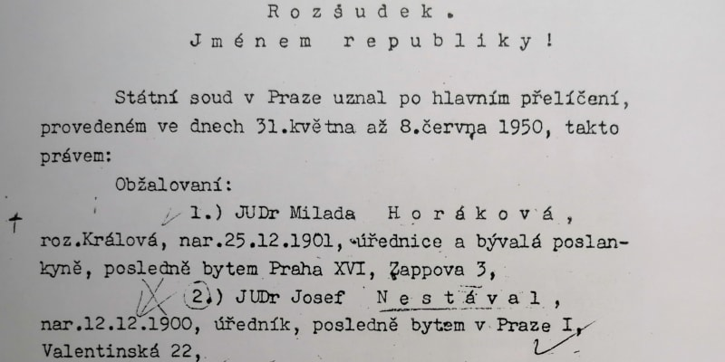 Z rozsudku nad Miladou Horákovou