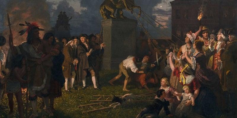 Stržení sochy Krále Jiřího, jak si je představoval malíř Johannes Oertel.