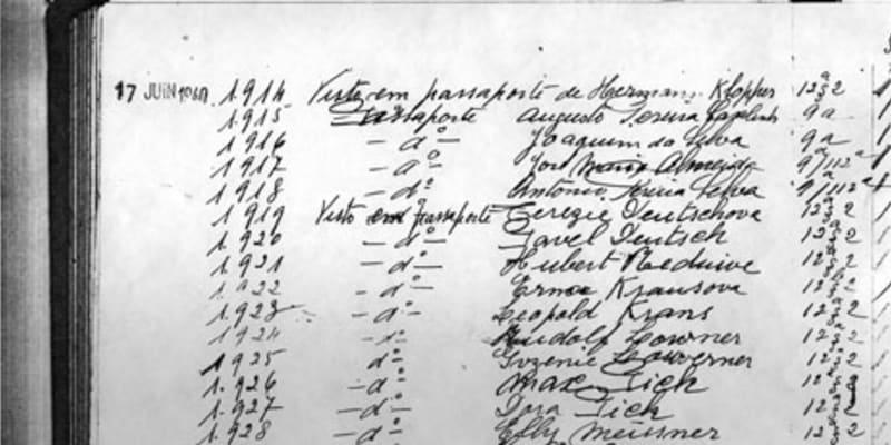 Listina zachráněných Židů portugalským konzulem
