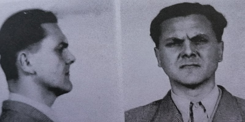 Popravený Miroslav Sýkora na policejním snímku. Po zatčení na podzim 1949.