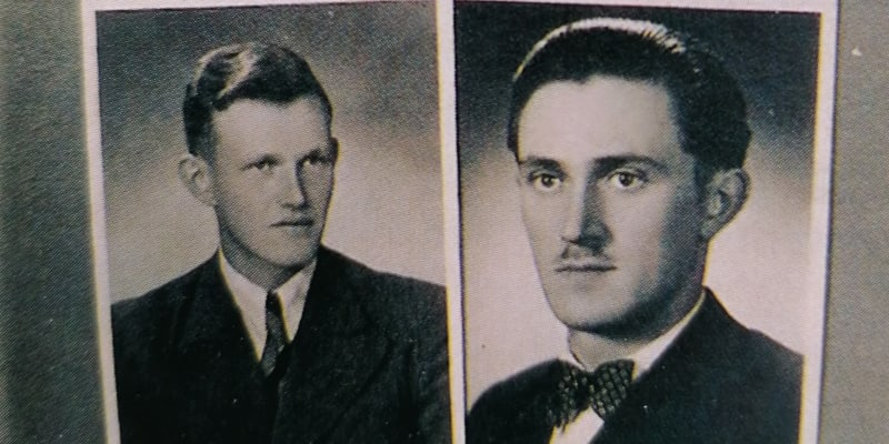 Z rodinného alba Sýkorů. Vlevo Zdeněk Sýkora, odsouzen na 20 let. Vpravo Miroslav Sýkora, popraven.