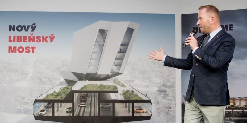 Petr Stuchlík v kampani do komunálních voleb v roce 2018 představuje, jak by měl vypadat nový Libeňský most.