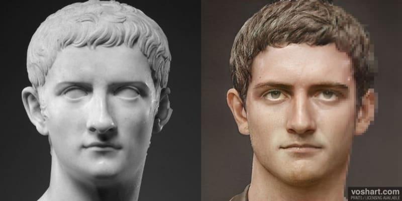 První verze císaře Caliguly. Tento portrét vznikl podle materiálů, které si však tohoto císaře dle historiků příliš idealizují.