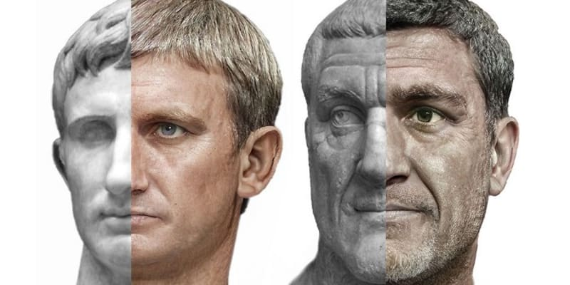 Vizualizace císařů Augusta a Maximina Thraxe