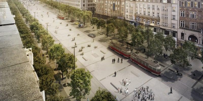 Na Václavské náměstí se vrátí tramvaje.