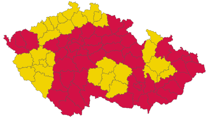Devět krajů má na koronavirovém semaforu červenou barvu, o čtyři více než před týdnem