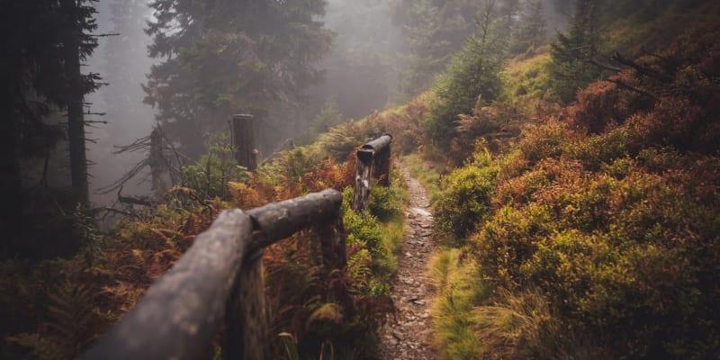 Dřevěné zábradlí mi bylo oporou při sestupu do údolí.