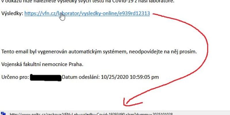 Hackeři jménem nemocnice rozesílají SMS zprávy nebo e-maily s výsledkem laboratorních testů na COVID-19.