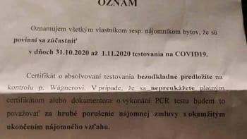 Buď test, nebo výpověď z bytu, vyhrožoval majitel domu nájemníkům na Slovensku