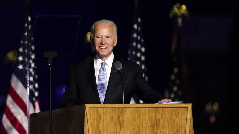 Joe Biden během projevu pro výhře v prezidentských volbách