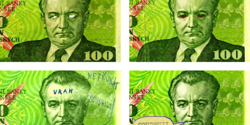 """Poškozené bankovky s Gottwaldem: vypíchané oči, nápisy """"Vrah"""" i jiné"""