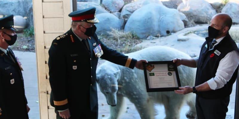 Juno byla kanadskou armádou povýšena na čestného mistra desátníka.