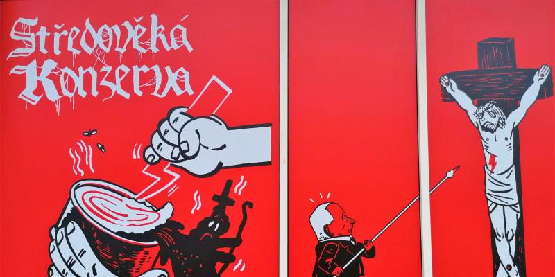 Detail z protipolských karikatur L. Gažiové a A. Kluyukova v Galerii PLATO