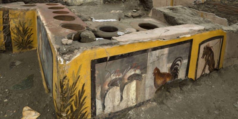 V terakotových nádobách archeologové našli úlomek kachní kosti a dále zbytky vepřového, kozího, rybího a šnečího masa.