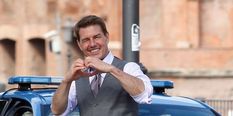 Americký herec a producent Tom Cruise na natáčení filmu Mission: Impossible 7