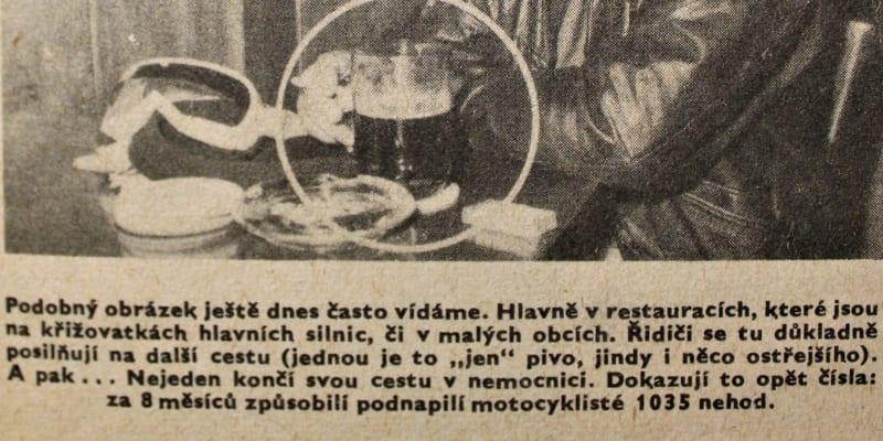 Časopis VTM z rou 1960 oznamuje, že od 1. ledna 1961 bude alkohol za volantem zakázán.