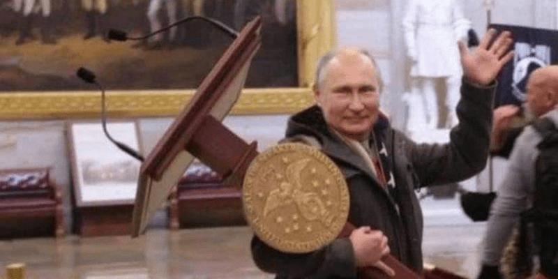 Koláž s Vladimirem Putinem