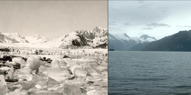 Galerie NASA: Jak rychle tají ledovce na Aljašce? Vlevo meziválečná fotografie, vpravo srpen 2005.