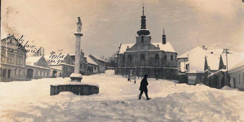 Zima 1929 v Mnichovicích u Prahy. Foto MěÚ Mnichovice