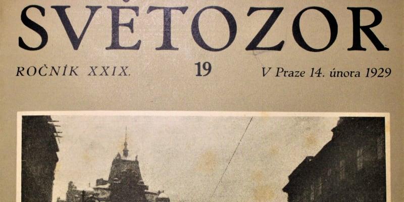Obálka časopisu Světozor dokumentující pražskou zimu 1929.