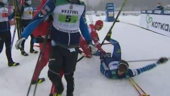 Hvězdný ruský běžkař vybouchl. Soupeře praštil holí, pak do něj v cíli najel