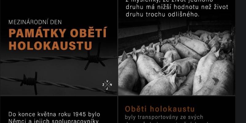 Spolek Zvířata nejíme svérázným způsobem připomněl památku obětí holokaustu.