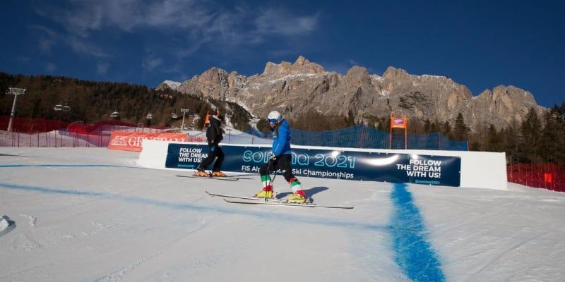 Cortina d´Ampezzo, dějiště mistrovství světa alpských lyžařů.