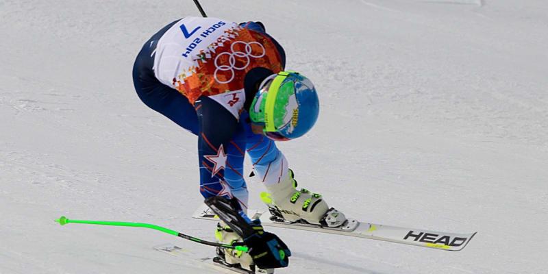 Ted Ligety protíná fotobuňku v cíli zlatého olympijského závodu v Soči 2014.