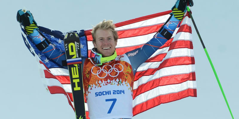 Ted Ligety po vítězství na olympiádě v Soči 2014 v obřím slalomu.