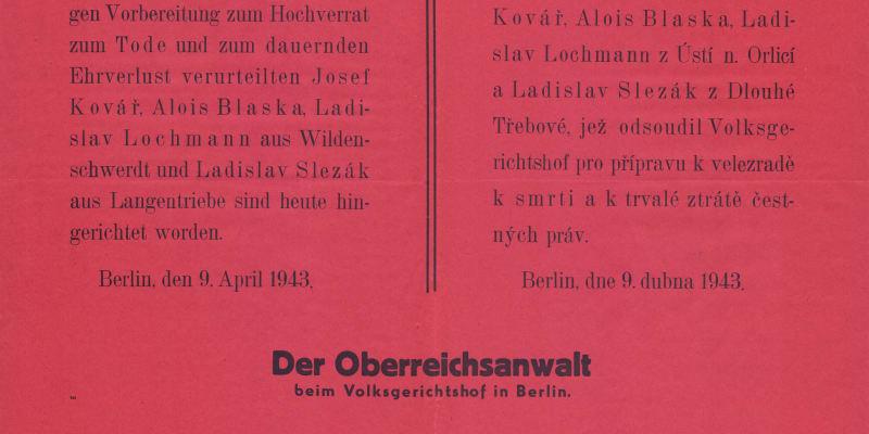 Vyhláška o popravách v berlínském Plötzensee z 9. 4. 1943; Josef Kovář, Alois Blaška, Ladislav Lochman a Ladislav Slezák, všichni z ilegální KSČ