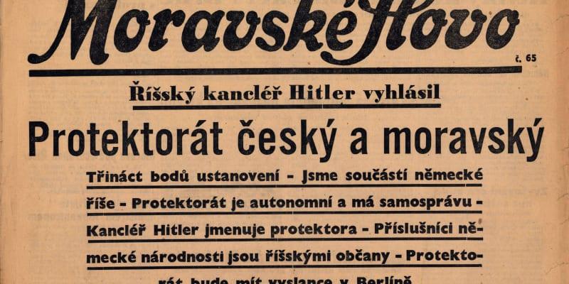 Titulní strana Moravského slova informující o vzniku protektorátu. Brno, 17. březen 1939 (zdroj: J. B. Uhlíř, kniha Protektorát Čechy a Morava)