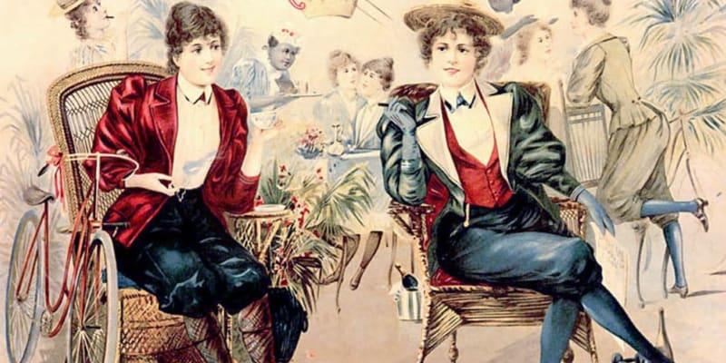 Ženy v kalhotách na dobové reklamě před I. světovou válkou