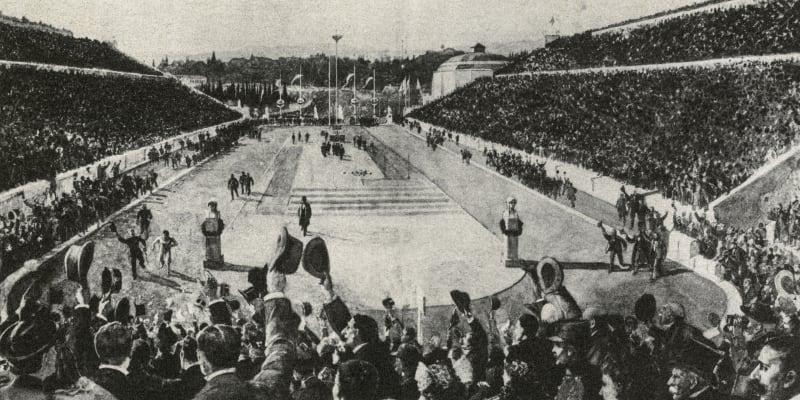 Doběh prvního olympijského maratonu, ve kterém zvítězil domácí závodník Spyridon Luis.