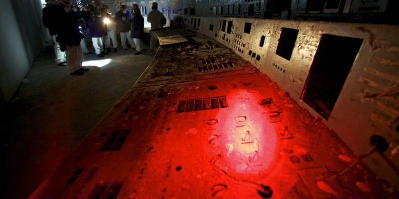 Trosky velínu reaktoru číslo 4 v Černobylu
