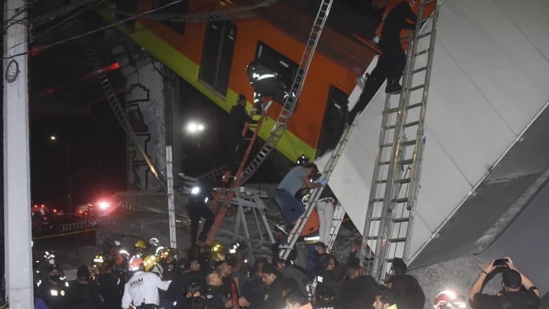 V Mexiku se zřítila nadzemní část metra. Nejméně 24 mrtvých a desítky zraněných