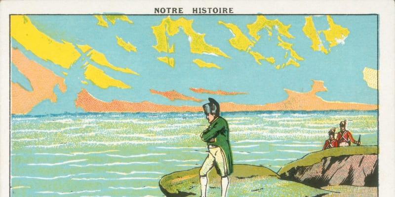 Kresba Napoleona Bonaparta na ostrově Svatá Helena, ke trávil poslední roky svého života.