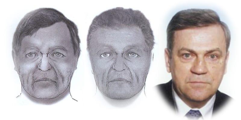 Policejní rekonstrukce přibližné podoby muže dosud neznámé totožnosti a fotografie Lamberta Krejčíře