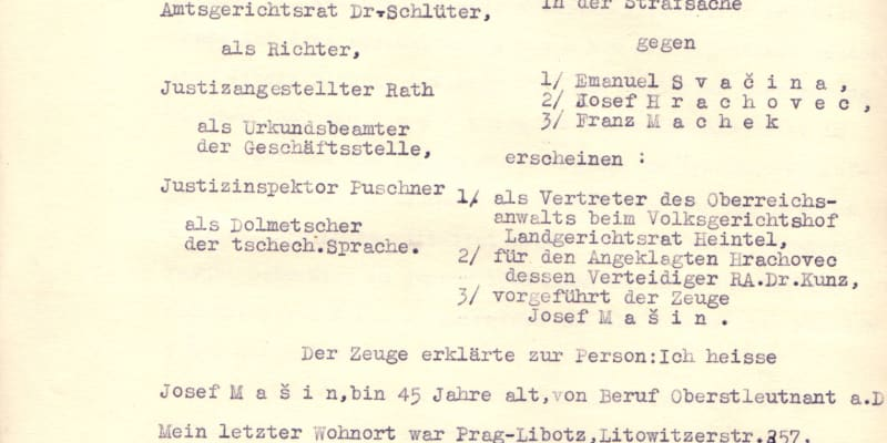 Výslechový protokol Josefa Mašína  z 7. května 1942 ve věznici na Pankráci, který objevil historik Uhlíř. Mašín byl popraven necelé dva měsíce poté.