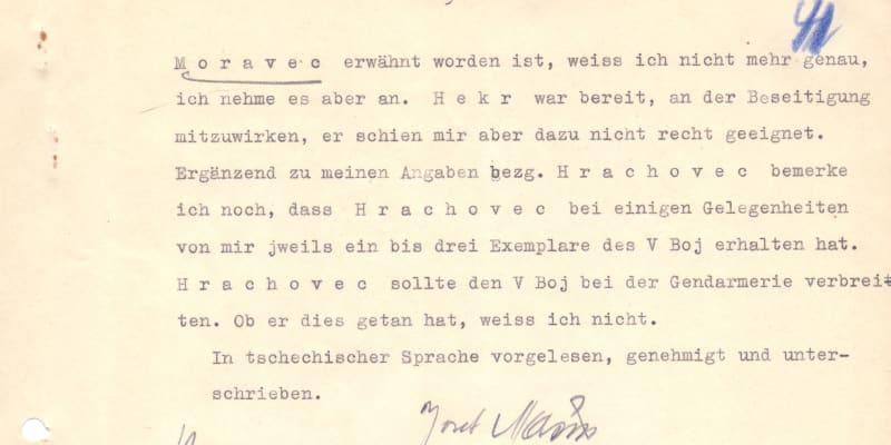 Výslechový protokol Josefa Mašína s podpisem odbojáře, který objevil historik Uhlíř.