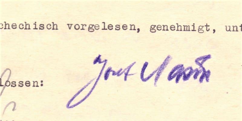 Podpis Josefa Mašína na výslechovém protokolu gestapa
