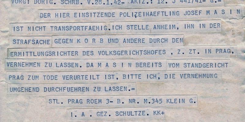 Žádost berlínských vyšetřovatelů k pražskému gestapu, aby Josefa Mašína eskortovalo do Berlína kvůli konfrontaci s jiným odbojářem.