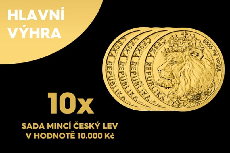 Ceny ve finále 24. května - až 10 unikátních sad, celkově 40 zlatých mincí v hodnotě 100 000 korun.