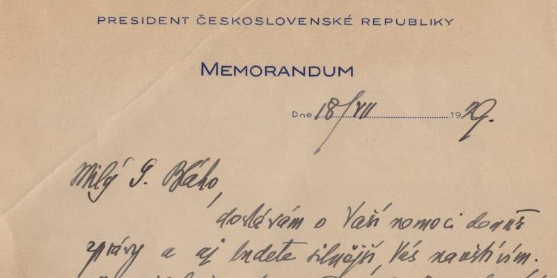 Dopis prezidenta T. G. Masaryka nemocnému přednostovi Vojenské kanceláře Pražského hradu Sylvestru Bláhovi. (archiv Dagmar Hamšíkové)