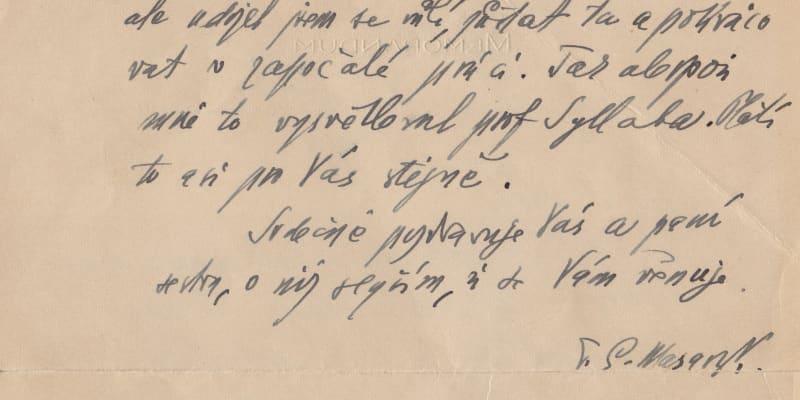 Pokračování dopisu nemocnému přednostovi Vojenské kanceláře Pražského hradu Sylvestru Bláhovi. (archiv Dagmar Hamšíkové)