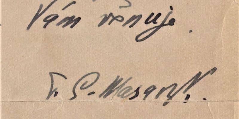 Podpis T. G. Masaryka z 18. července 1929. (archiv Dagmar Hamšíkové)