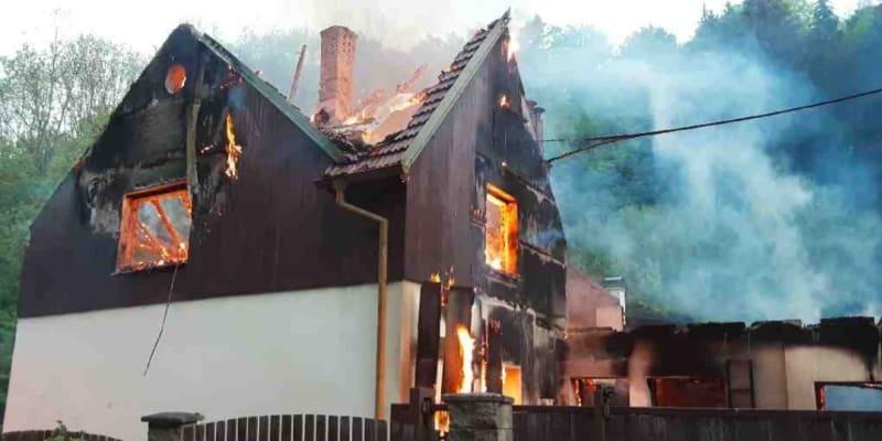 Požár rodinného domu u Zábřehu