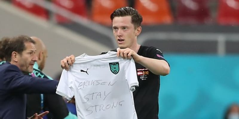 Rakouský fotbalista Michael Gregoritsch věnoval Eriksenovi svůj gól proti Severní Makedonii.