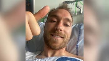 Eriksen z nemocnice poslal první fotku po kolapsu. Připojil povzbudivý vzkaz